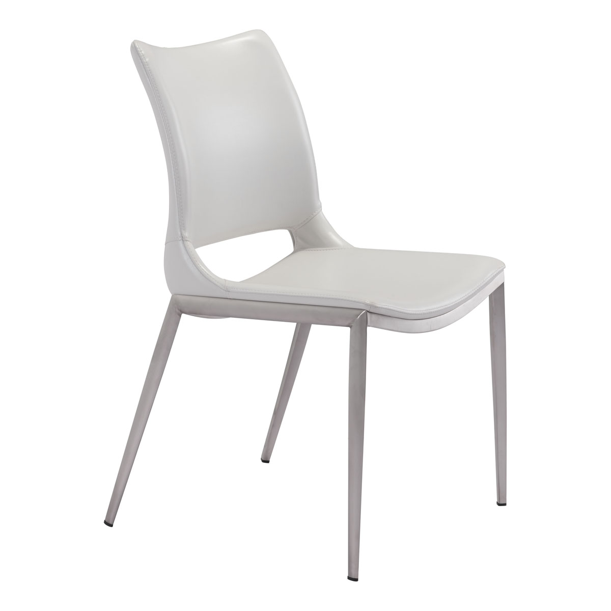premium selection be975 8458a Ace Dining Chair White & Brushed Stainless Steel